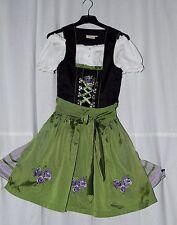 süßes Dirndl schwarz-grün Gr 32 bestickt am Mieder & Schürze + Bluse