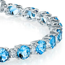 Sterling Silver Diamond and Blue Topaz Tennis Bracelet February Birthstone