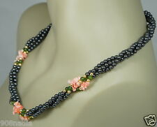 VINTAGE GOLD TONE,FAUX 3 ROW BLACK PEARL,PINK SHELL NECKLACE