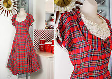 1940s Plaid Acetate New Look Dress Silk Organza Ruffled Bodice 34-28-free 10 8