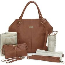 Timi & Leslie Charlie Faux Leather 7 Piece Baby Diaper Bag Set Cinnamon NEW