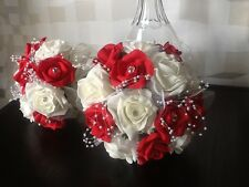 2 x BRIDE/MAID/GIRL WEDDING FLOWER BRIGHT RED/IVORY ROSE/PEARL BRIDAL BOUQUETS