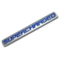CHROME/BLUE METAL SUPERCHARGED ENGINE RACE MOTOR SWAP BADGE FOR TRUNK DOOR B