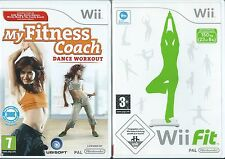MINT CONDITION+UK Wii FIT + MY FITNESS COACH DANCE WORKOUT=NINTENDO Wii=WORK OUT