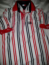 TOMMY HILFIGER ATHLETICS VTG R/W/B DOUBLE LOGO SEWN EMBROIDERED POLO SHIRT- S