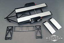 TANDEM CAR TRAILER W/ TIRE RACK BLACK 1/18 SCALE DIECAST MODEL BY GMP 18820