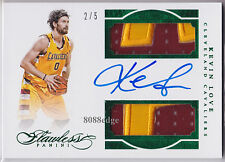 2015-16 FLAWLESS EMERALD DUAL PATCH AUTO: KEVIN LOVE #2/5 ON CARD AUTOGRAPH CAVS