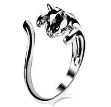 XICA Fashion Jewelry Womens Cool Silver Plated Kitten Cat Ring With Crystal Eyes