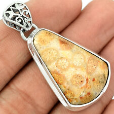 Indonesian Fossil Coral 925 Sterling Silver Pendant Jewelry FSCP96