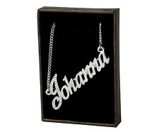 "Name Necklace ""JOHANNA"" - 18ct White Gold Plated - Czech Rhinestones - Jewellery"