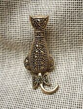 Art Deco Style Sterling & Marcasite Brooch Cat Back View Vermeil Bow Tail Moves