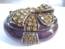 SNUFF BOX BRASS WITH JEWELED BOWS ANTIQUE HEAVY ORNATE