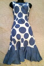 HOBBS Lovely Blue And White Large Spot Print Linen Dress Size 10 UK