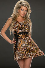 Abito aperto trasparente nudo gonna no maniche Belted Leopard Party Skater Dress
