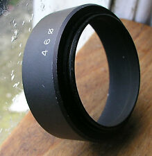 46mm   screw in lens hood shade used but good