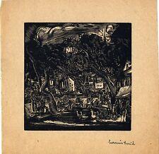 """Hermine DAVID:très rare bois gravé original: """"Le bistot""""/1930/griffe/certificat"""