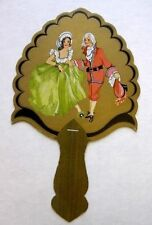 Vintage Bridge Tally Hand Fan w/ Colonial Style Couple