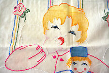 "VINTAGE CHILDRENS BABY PILLOW COVER Crewel Embroidered BABY DOLL FLORAL 17X12"" 4"