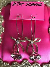 Betsey Johnson Vintage Lucite Clear Leopard Print Diamond Wire Bow Earrings