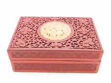 Rare Antique Chinese Carved Cinnabar Lacquer Box With Jade Jadeite Floral Plaque