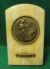 Old dated 1929 MARBLE DESK PLAQUE  - GUARDIAN ANGEL & CHILD