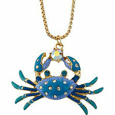 "NWT Betsey Johnson Fabulous ""Sea Jewels"" Crab Pendant Necklace"