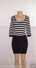 NEW MNG By MANGO BLACK & WHITE STRIPE MIX BODYCON RIB BOTTOM NEDA DRESS SIZE 4