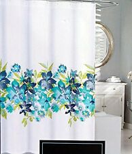 Cynthia Rowley Fabric Shower Curtain Turquoise Blue Green Maui Floral Pattern