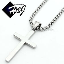 "18""MEN Stainless Steel 2mm Silver Smooth Box Chain Necklace Cross Pendant*SP"