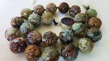 "VINTAGE DECO CHINESE CARVED NATUR. HEISU JADE BEADS SHOU NECKLACE 17"" WOW CLASP"