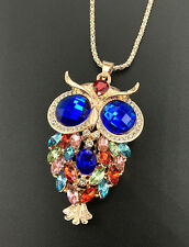 Rose Gold Plated Multi-Color Crystal Animal Owl Pendant Sweater Chain Necklace