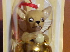1 Dozen CHIHUAHUA Dog Figurine Brass Bells By DNC Arcadia 12 Pc Lot Orniments
