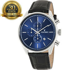 Original Vincero Blue Chronograph Leather Strap 12 Hour Dial Men's Wrist Watch