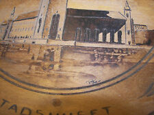 """wooden plate Sweden Stockholm woodburned and etched plate 10"""""""
