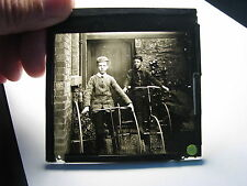 Boys on tricycles bicycle antique photo magic lantern slide #9021