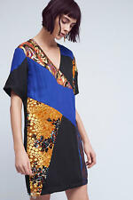 ANTHROPOLOGIE CAMELIA PATCHWORK DRESS 14 HD in PARIS LINED BURNOUT $168.00  NWT