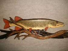 Hand Carved MUSKY Wood Wall Art Carving Chainsaw Cabin fish muskellunge muskie