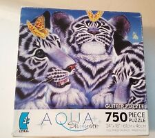 """Aqua Shimmer Glitter Puzzle 750 Pc Ceaco Sparkle Baby Tigers 24"""" x 18"""" B & W 12+"""