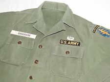 US Army Vietnam SPECIAL FORCES BADGED 1ST PATTERN SATEEN FATIGUE COMBAT SHIRT