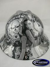 New Custom MSA V-Gard (Full Brim) Hard Hat W/FasTrac Silver Bad Boy Club Pattern