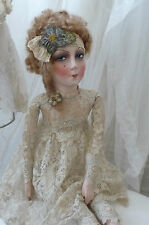 ANTIQUE FRENCH BOUDOIR DOLL  C 1920 PARIS EDWARDIAN ROMANTIC FASHION DOLL