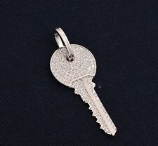 "2"" Unisex Solid Key Charm Iced Out CZ Pendant Sterling Silver 925 Men's"