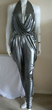 Arrogant Cat Womens Silver Metallic Halterneck Designer Jumpsuit One Size New