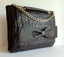 CAROLINA HERRERA Calfskin Leather CH Embossed Monogram Bow Shoulder HandBag NWT