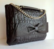 CAROLINA HERRERA Calfskin Leather CH Embossed Monogram Bow Shoulder HandBag NWT