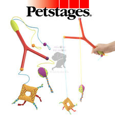 Comfort handle Petstages double kitten wand 4 cords for cats to chase catnip toy