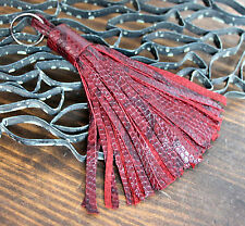 "HANDMADE MURKA LIZARD DARK RED GENUINE LEATHER 5"" LONG TASSEL BAG CHARM FOB RING"