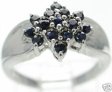 Solid 925 Sterling Silver Genuine Sapphire Flower Shaped Cluster Ring Size-8 '