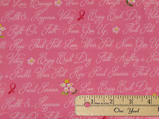 Anything is Possible Pink Ribbon Words Breast Cancer Fabric by 1/2 Yd 42141-3