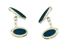 Sterling Silver Blue Striped Cufflinks Made To Order in Jewellery Quarter B'ham